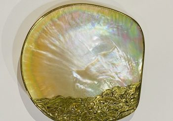Shell plate white golden