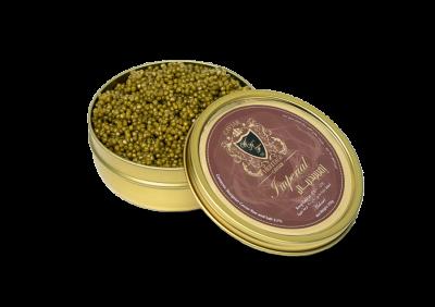 Caviar Imperial in an opened tin by caviar heritage best online caviar in Dubai Khaviar