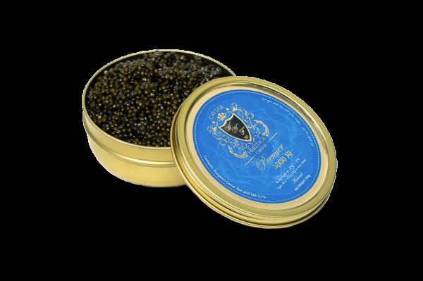 Caviar Premier in an opened tin by caviar heritage best online caviar in Dubai Khaviar